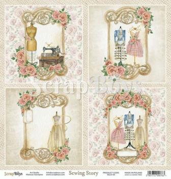 Scrapbooking Single Paper 12'' x 12'' - Sewing Love 05
