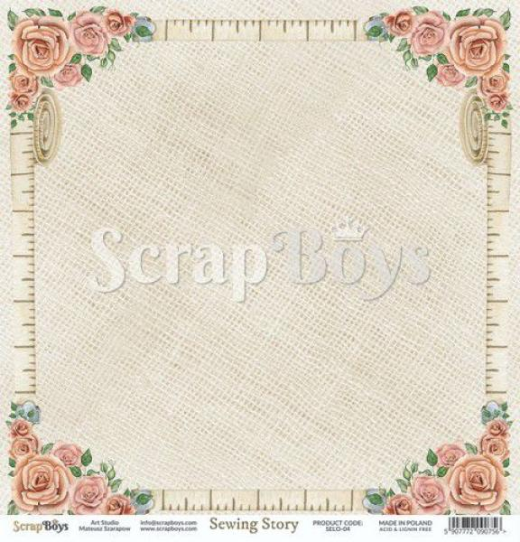 Scrapbooking Single Paper 12'' x 12'' - Sewing Love 04